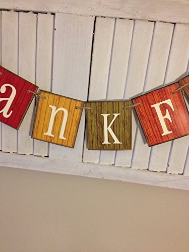 (Thankful Banner Fall Barn Siding Card Sign Distressed Shabby Chippy Garland Bunting Autumn Colors Fall Decor Thanksgiving)