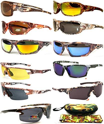 12 Pairs Camo Camouflage Sports Wrap Hunting Fishing Sunglasses Eyeglasses for Men Women Wholesale Bulk Lots