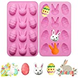 2 Pack Easter Egg and Bunny Silicone Molds Tray for Chocolate Candy Gummy Ice Cube Jello Jelly Cake Mini Soap Wax Crayon Melt