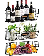Wall Mounted Baskets Black Wire Storage Baskets for Wall Hanging Wall Basket Set of 3 Hanging Bins for Wall with Chalkboard Labels