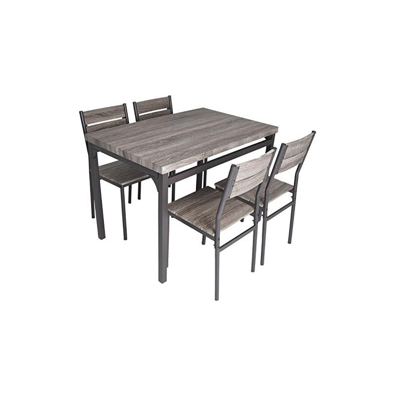 Zenvida 5 Piece Dining Set Rustic Grey W