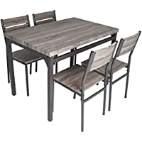Zenvida 5 Piece Dining Set Rustic Grey Wooden Kitchen...