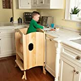 Svan Kitchen Tower for Kids and Toddlers - Wooden Foldable Step Stool w Adjustable Height, Safety Treads for Added Safety