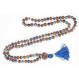 Gift Meditation Rudraksha Lapis Lazuli Mala Yoga Energy Beads Mental Clarity Japa Mala