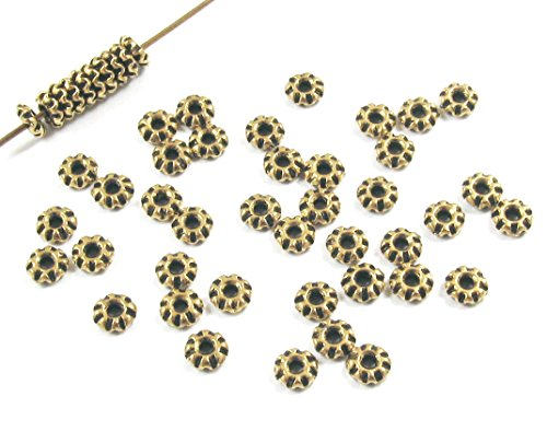 (TierraCast Pewter Beads-ANTIQUE GOLD TEKE SPACER 4mm (50))