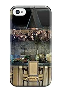 Iphone 4/4s Case Slim [ultra Fit] Old World Kitchen With Stone Copper And Brass Materials Protective Case Cover