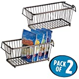 mDesign Household Stackable Wire Storage Organizer Bin Basket with Built-In Handles for Kitchen Cabinets, Pantry, Closets, Bedrooms, Bathrooms – 12