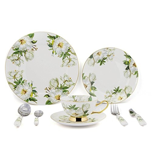 NDHT Ceramic 8-Pcs Green Camellia Dinnerware Set dinner set with dinner plates, salad plates, dinner knife, dinner fork, tea Cup, Saucer, coffee Spoon, dinner Spoon,8 PCS,with Gift Box