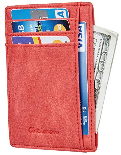Chelmon Slim Wallet RFID Front Pocket Wallet Minimalist Secure Thin Credit Card Holder (Vinti Red)