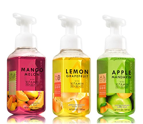 Bath and Body Works Gentle Foaming Hand Soap Fruit Trio - Mango Melon + Lemon Grapefruit + Apple Mandarin - Set of 3 Hand Soaps 8.75 oz each (Scented Bath Soap)