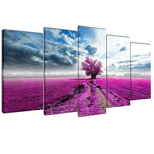 (Multicolour Art Tree Canvas Print Picture for Living Room Decoration Stretched XLarge 5 Panels Painting Wall Art Print on Blue and Pink Canvas- High Definition Modern Home Decor)