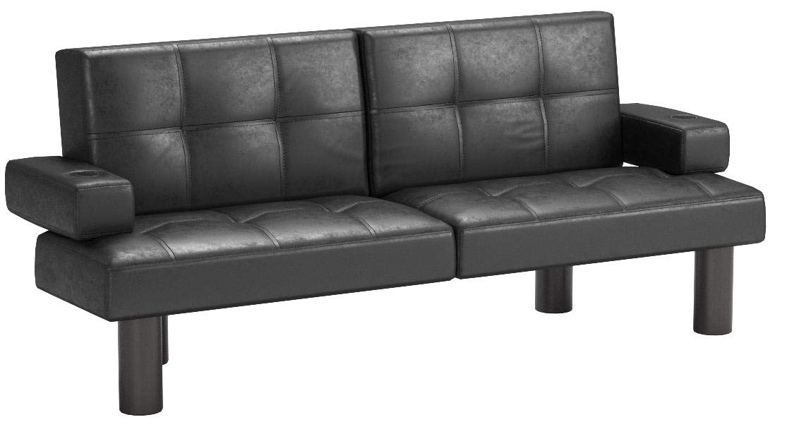 Mainstay Connectrix Faux Leather Futon, Multiple Colors (Black) by Mainstay