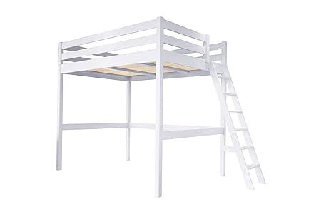 Hochbett Holz Weiß 140x200 : Abc meubles hochbett sylvia mit leiter sylviaech weiß