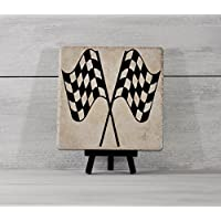 Checkered Flag, Racing Decor, Tile Quote, Decorative Tile, Nascar Gift, Christmas Gift, Vintage Racing,Racing Gift, Sprint Car,Gift Under 20