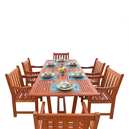 VIFAH V232SET1 English Garden 7-Piece Dining Set with Rectangular Extension Table, Natural Wood Finish, 91 by 39 by 29-Inch