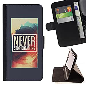 Jordan Colourful Shop - Never Stop Dreaming Poster Grey Sun For Samsung Galaxy A3 - Leather Case Absorci???¡¯???€????€????????&