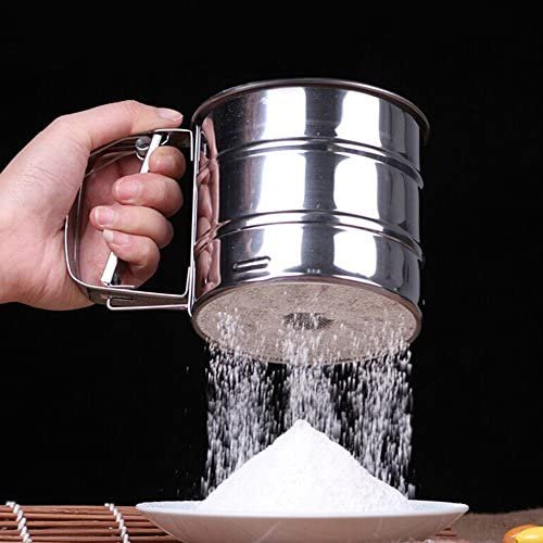 Handheld Baking Cake Tool Stainless Steel Mechanical Baking Icing Sugar Shaker Sieve Cup Mesh Powder Flour Sieve Accessory