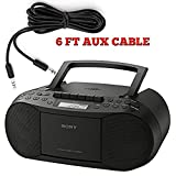 Sony Stereo CD/MP3 Cassette Boombox, AM/FM Radio, Cassette Recorder, Headphone & Auxiliary Jacko, Black - Includes a 6 FT Aux Cable