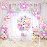 LEEHUR Balloon Arch Garland Kit with Inflator and Flower Clip, 132pcs Party Decorations kit 4 Colours (Green, Yellow, Purple, Light Orange) Latex Macaron Balloons Set for Weddings Birthday Baby Showers Festivals etc.