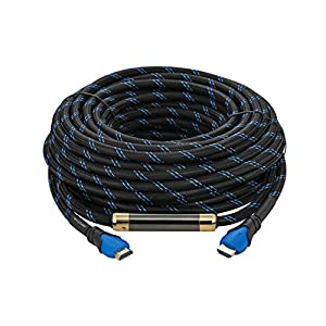 A-tech High-speed Hdmi Cable 99 Feet (30meters)blue-black with Nylon Mesh and Built-in Signal Booster Metal Black Case Hdmi Cable 3d,this Hdmi Ethernet Cable for Tv Supports Ethernet, 3d,1080p and Audio Return [Newest Standard]-HDMI cable 2.0