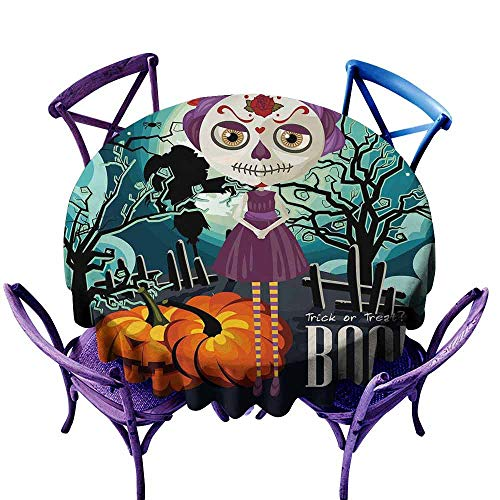 AndyTours Stain Round Tablecloth,Halloween,Cartoon Girl with Sugar Skull