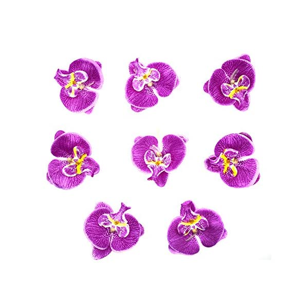 HZOnline Artificial Silk Phalaenopsis Flower Heads, Fake Butterfly Orchid Head Floral Bouquet for Crafts Wedding Decoration DIY Making Bridal Hair Clip Headbands Dress Photography Props (20pcs Purple)