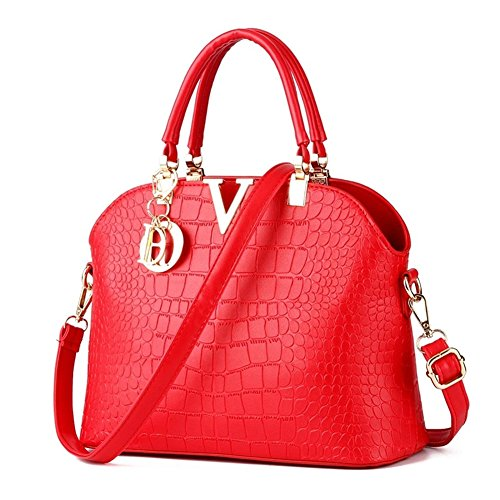 Rubysports Fashion Crossbody Bags for Women Pu Leather Girls Evening Handbag Red