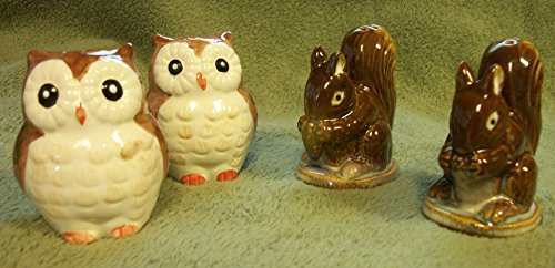 (Cute Owl and Squirrel Set of Salt and Pepper Shakers)