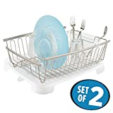 dish drain side - mDesign Large Kitchen Countertop, Sink Dish Drying Rack with Removable Cutlery Tray and Drainboard with Swivel Spout - Set of 2, Rustproof Satin Wire/Frost BPA Free Plastic