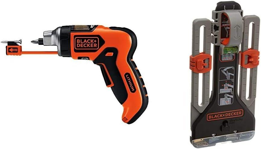 BLACK+DECKER Cordless Screwdriver with Screw Holder, SmartSelect, 6V with MarkIT Picture Hanging Kit (LI4000 & BDMKIT101C)