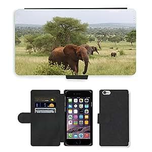 "CARD POCKET BOOK CASE PU LEATHER CASE // M00146999 Elefante África Tanzania Tarangire // Apple iPhone 6 4.7"""