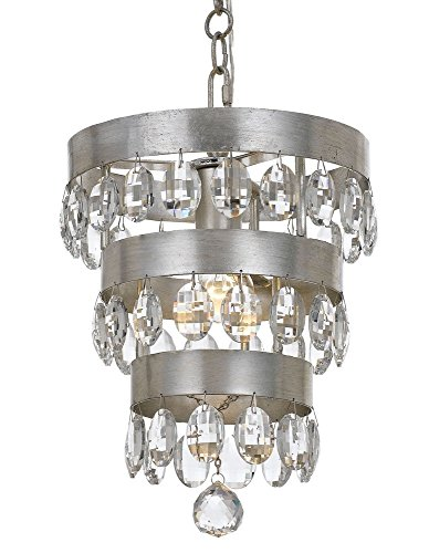 Crystorama 6103-SA Transitional One Light Mini Chandelier from Perla collection in Pwt, Nckl, B/S, Slvr.finish, 10.00 (Perle One Light)