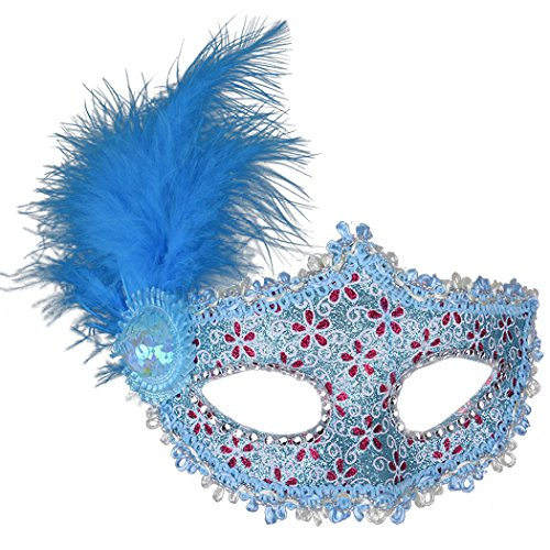 Venetian Masquerade Masks Mardi Gras Costume with Feather Flowers (One size, Bule) ()