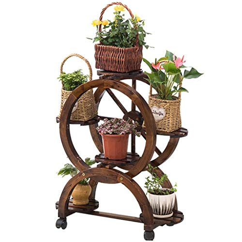 HY Anti-Corrosion Flower Stand Solid Wood Multi-Layer Flower Shelf Indoor Space Balcony Rack Removable Creative Flower ()