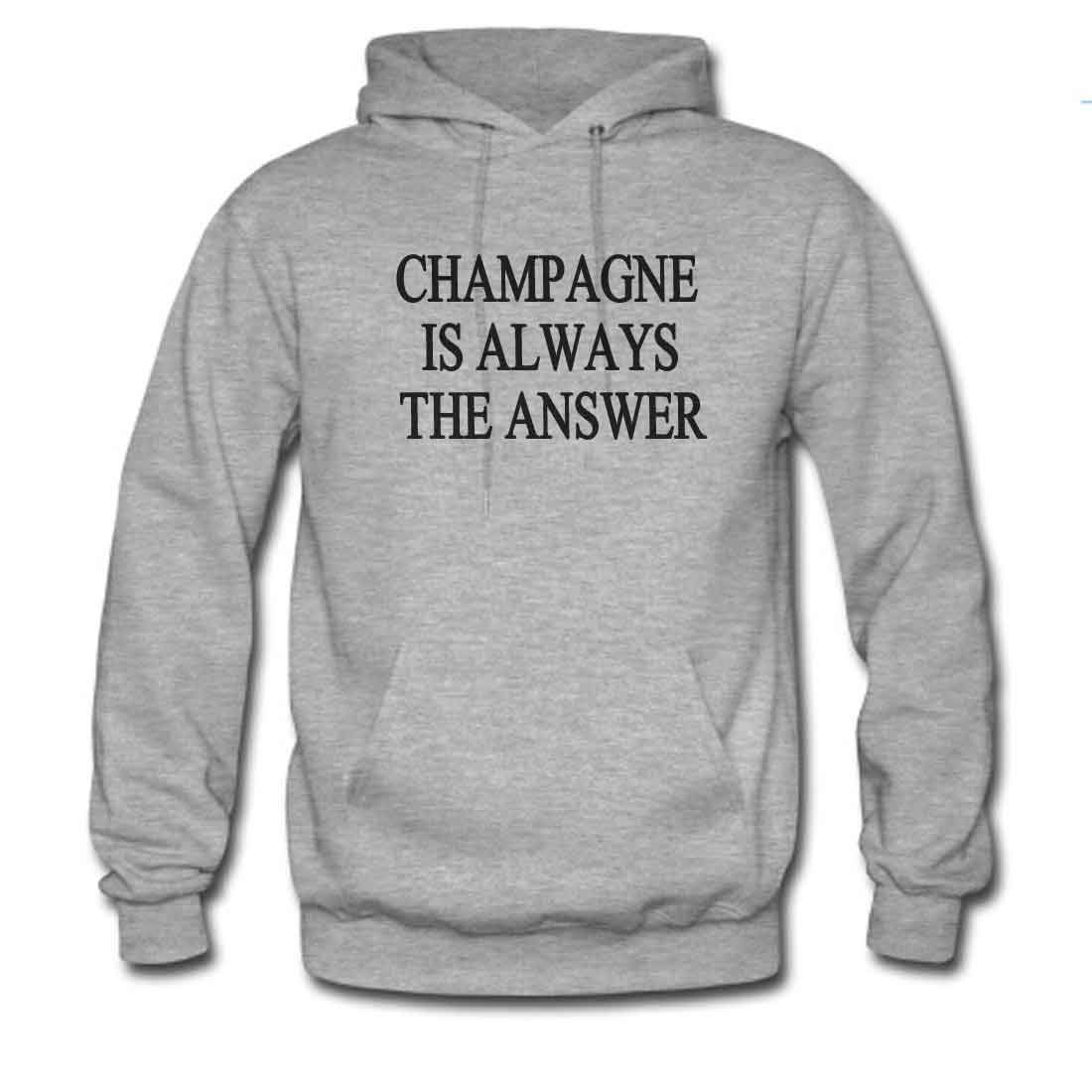Mens Classic Pullover Hoodie Sweatshirt,Champagne is Always The Answer Print