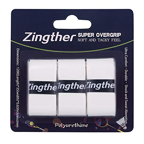 Zingther Premium Tacky Tennis Overgrip for Tennis Racquet, Badminton Racquet and Other Rackets, White (3 Grips)