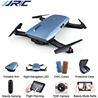 JJRC H47 RC Drone with 720 HD Camera Elfie Foldable Selfie Pocket Helicopter Gravity Sensor Mode One hand Remote Control Mini Quadcopter(Blue)
