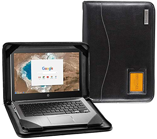 Broonel - Contour Series - Black Heavy Duty Leather Protective Case Cover Compatible with The HP Envy X360 15