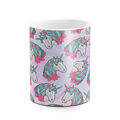 Floral Vintage Flower Unicorn Head Trippy Rainbow Acid Tie Dye Iridescent Print Pattern Birthday or Anniversary Gifts Unique Present Idea Funny Gift White Heat Resistant Ceramic Tea Coffee Mug - 11oz -