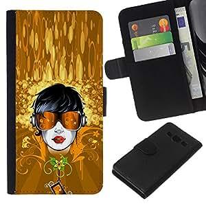 Stuss Case / Funda Carcasa PU de Cuero - Oro Tipo del Gafas de sol de verano floral - Samsung Galaxy A3