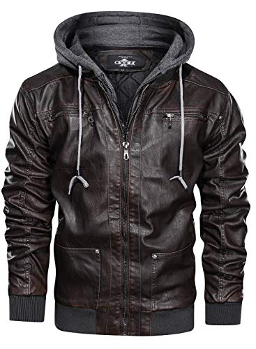 HOOD CREW Men's Warm PU Faux Leather Zip-Up Motorcycle Bomber Jacket with a Removable Hood