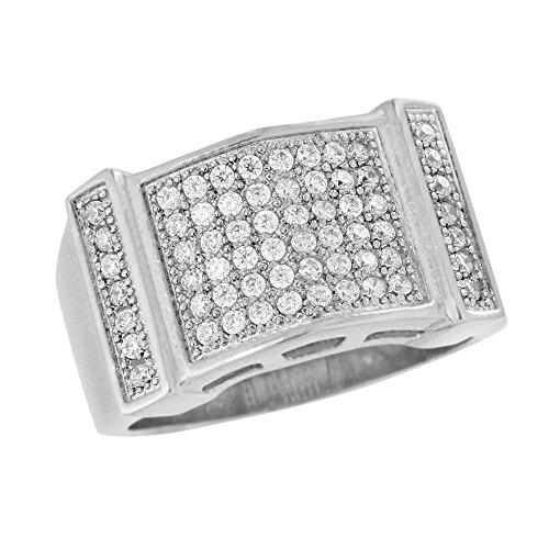 Over Stainless Steel Diamond Ring - White Gold Wedding Ring Mens 14K Over Stainless Steel Lab Created Diamond Classy (12)
