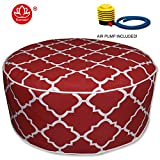 Kozyard Inflatable Stool Ottoman Used for Indoor or Outdoor, Kids or Adults, Camping or Home (RED)