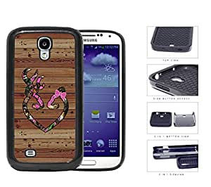 Pink HEART with BOW Deer Buck Browning Camo Oak BROWN Color Wood #13 Samsung Galaxy S4 i9500 (2-piece) Dual Layer High Impact Cell Phone Case
