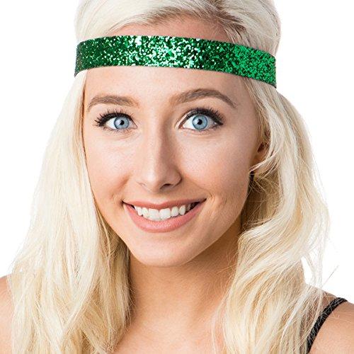 Hipsy Women's Adjustable NO Slip Wide Bling Glitter Headband (Emerald - Glitter Green Headband