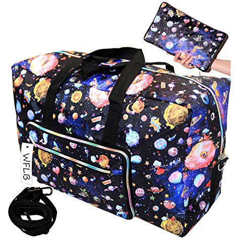 Large Travel Duffel Bag Foldable Large Travel Bag Weekend Bag Checked Bag Luggage Tote 18 Style 21.6IN x 9.8IN x 13.7IN (planet) (Zip Tote Easy)