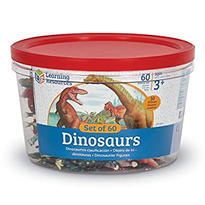 Learning Resources Dinosaur Counters, Set of 60 Colored Dinosaurs, Fine Motor Toy, Ages 3+: Toys & Games