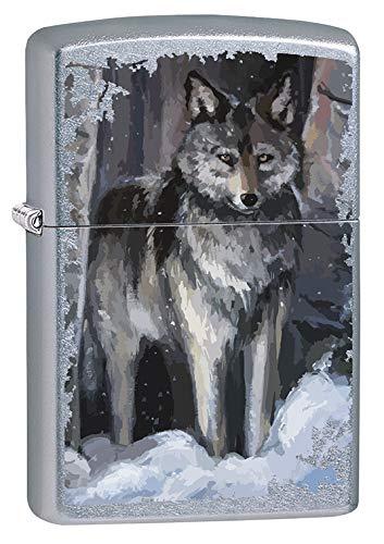 (Zippo Lighter: Wolf in Winter - Street Chrome 79719)