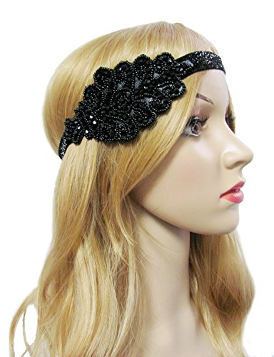 [1920s Flapper Headband Roaring 20s Vintage Black Art Deco Headpiece (A-black)] (1920s Flapper Hairstyles)