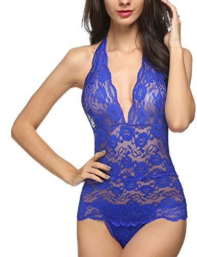 Avidlove Women Teddy Lingerie Halter V Neck Lace Bodysuit Lingeries(Blue,XL)